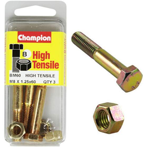 Champion High Tensile Bolts and Nuts - M8 X 60, , scanz_hi-res