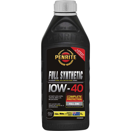 Penrite Full Synthetic Engine Oil - 10W-40 1 Litre, , scanz_hi-res