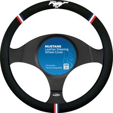 Ford Mustang Steering Wheel Cover - Leather, Black, , scanz_hi-res