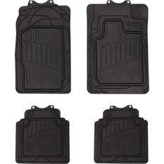 Car Floor Mats - Rubber, Black, Set of 4, Semi Tailored 4WD, , scanz_hi-res