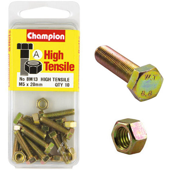 Champion High Tensile Bolts and Nuts - M5 X 20, , scanz_hi-res