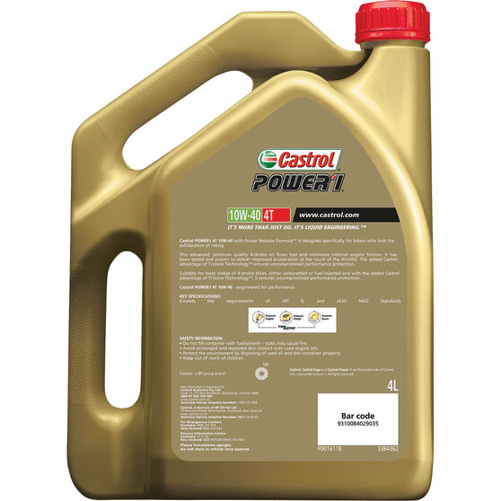 Castrol POWER1 4T Motorcycle Oil 10W-40 4 Litre, , scanz_hi-res