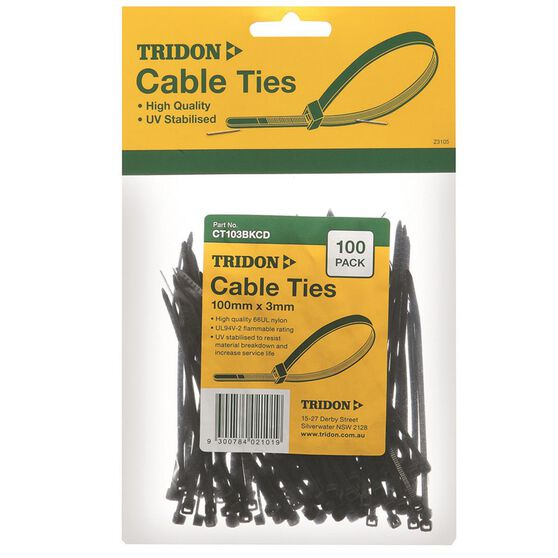 Tridon Cable Ties - 100mm x 3mm, 100 Pack, Black, , scanz_hi-res