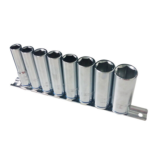ToolPRO Socket Rail Set - 3 / 8 inch Drive, Metric, Deep, 8 Piece, , scanz_hi-res