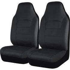 SCA Leather Look Seat Covers - Black Built-In Headrests Size 60 Front Pair Airbag Compatible, , scanz_hi-res