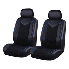 SCA Sports Leather Look And Mesh Seat Covers - Black And Blue, Adjustable Headrests, Airbag Compatible, , scanz_hi-res