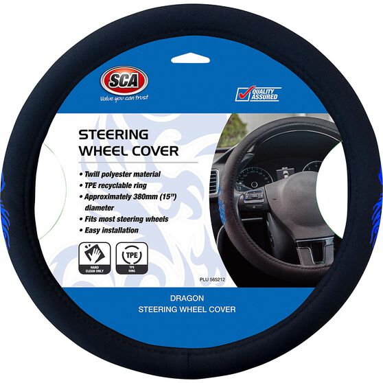 SCA Steering Wheel Cover - Dragon Twill Polyester, Black/Blue, 380mm diameter, , scanz_hi-res