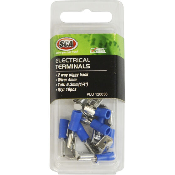 SCA Electrical Terminals - 2 Way Piggy Back, Blue, 6.3mm, 10 Pack, , scanz_hi-res