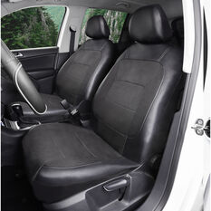 SCA PU Leather Look and Flax Seat Covers - Black, Adjustable Headrests, Airbag Compatible, Size 30, , scanz_hi-res