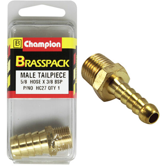 Champion Male Hose Barb - 5 / 8inch X 3 / 8inch, Brass, , scanz_hi-res