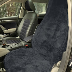 SCA Sheepskin Seat Cover - Charcoal, Built-in Headrests, Size 60, Single, Airbag Compatible, , scanz_hi-res