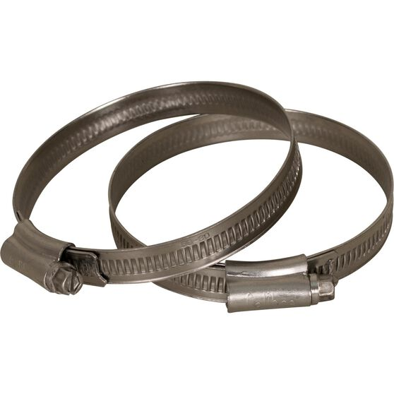 Calibre Hose Clamps - Stainless Steel, Solid Band, 60-80mm, 2 Pieces, , scanz_hi-res