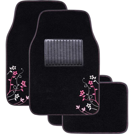 Apple Blossom Car Floor Mats - Carpet, Pink, Set of 4, , scanz_hi-res