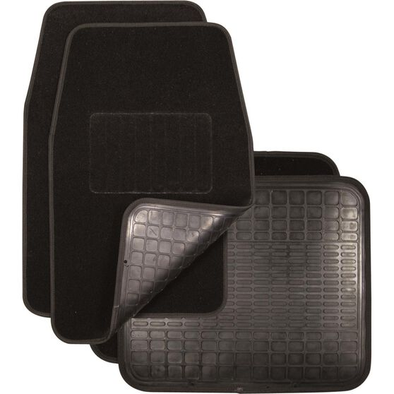 SCA Reversible Car Floor Mats Carpet/Rubber Black Set of 4, , scanz_hi-res