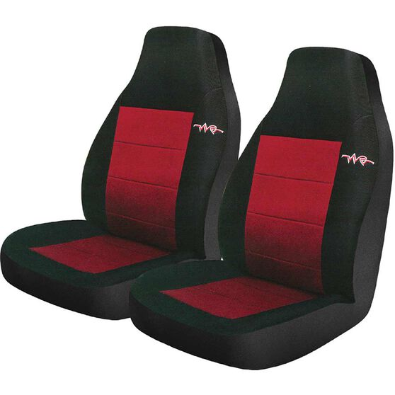 Cord Seat Covers - Red, Built-in Headrests, Size 60, Front Pair, Airbag Compatible, , scanz_hi-res