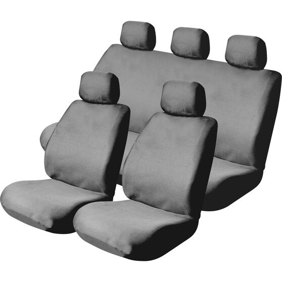 SCA Mesh Seat Cover Pack -  Grey, Adjustable Headrests, Size 30 and 06H, Front Pair and Rear, Airbag Compatible, , scanz_hi-res