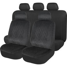 SCA Velour Quilted Seat Cover Pack - Black Adjustable Headrests Size 30 and 06H Airbag Compatible, , scanz_hi-res