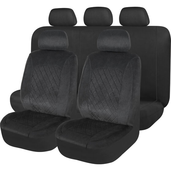 SCA Velour Quilted Seat Cover Pack - Black, Adjustable Headrests, Size 30 Front Pair Airbag Compatible, , scanz_hi-res