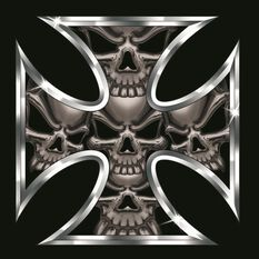 Hot Stuff Sticker - Iron Cross Skull, Chrome, , scanz_hi-res