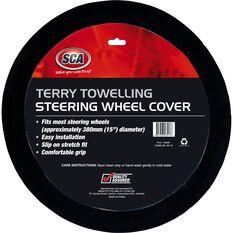 Steering Wheel Cover - Terry Towelling, Black, 380mm diameter, , scanz_hi-res