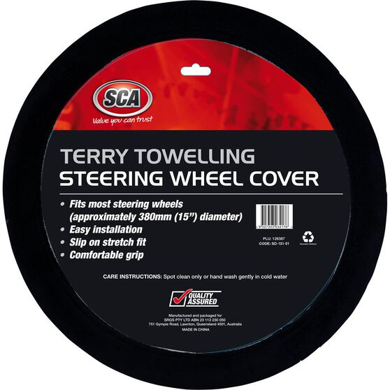 SCA Steering Wheel Cover - Terry Towelling, Black, 380mm diameter, , scanz_hi-res
