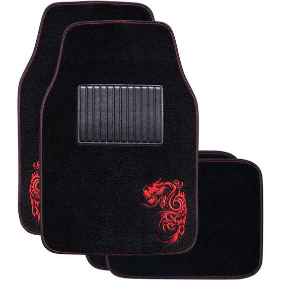 Dragon Car Floor Mats - Carpet, Red, Set of 4, , scanz_hi-res