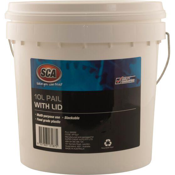 SCA Pail Bucket w /  Lid - White, 10 Litre, , scanz_hi-res