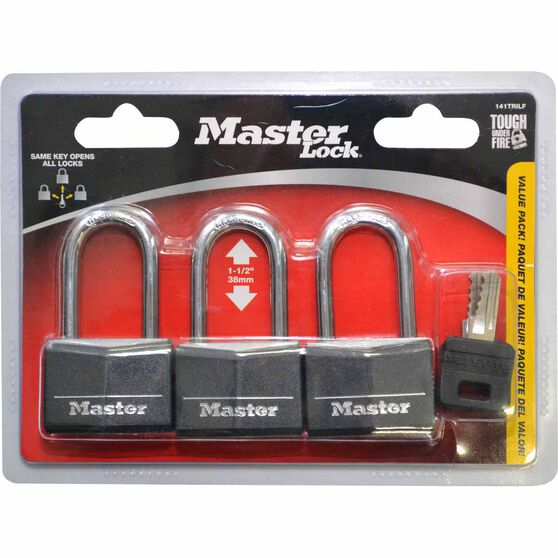 Padlock - Vinyl Cover, 40mm, Long Shank, 3 Pack, , scanz_hi-res