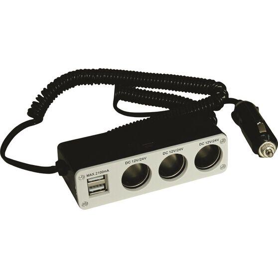 SCA 12V Socket - Triple, with USB, 8A, , scanz_hi-res