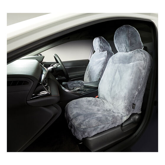 Gold Cloud Sheepskin Seat Covers - Grey Adjustable Headrests Size 30 Front Pair Airbag Compatible Grey, Grey, scanz_hi-res