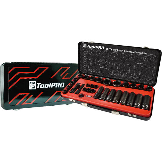 ToolPRO Impact Socket Set - 1 / 2inch / 3 / 8inch, Metric / Imperial, 31 Piece, , scanz_hi-res