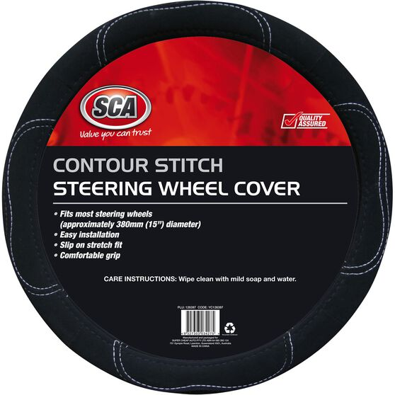 SCA Steering Wheel Cover - Contour Stitch, Black, 380mm diameter, , scanz_hi-res