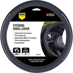 SCA Steering Wheel Cover - PU And Mesh, Black / Grey, 380mm Diameter, , scanz_hi-res