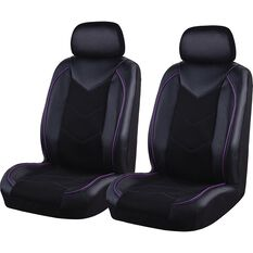 SCA Sports Leather Look and Mesh Seat Covers - Black and Purple, Adjustable Headrests, Airbag Compatible, , scanz_hi-res
