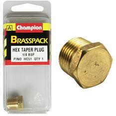 Champion Hex Taper Plug - 1 / 4inch, Brass, , scanz_hi-res