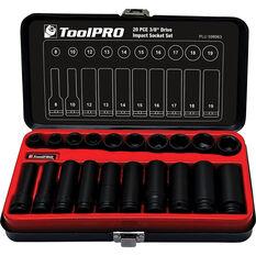 "ToolPRO Impact Socket Set 3/8"" Drive Metric 20 Piece, , scanz_hi-res"