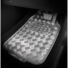 SCA Checkerplate Car Floor Mats PVC Silver Set of 4, , scanz_hi-res