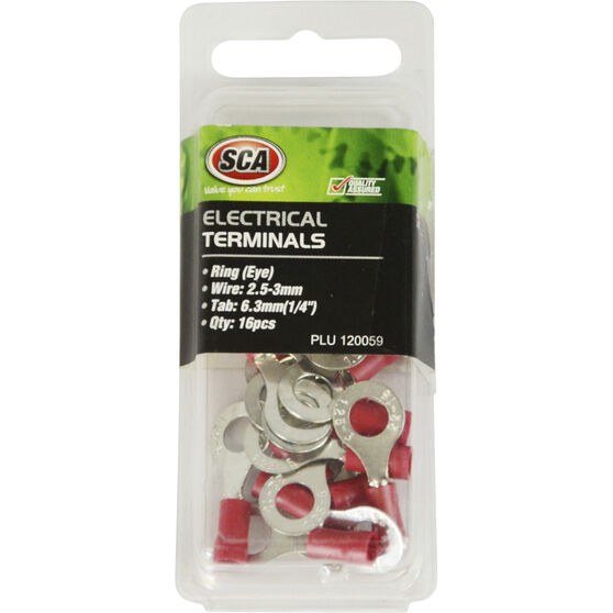 SCA Electrical Terminals - Ring (Eye), Red, 6.3mm, 16 Pack, , scanz_hi-res