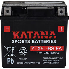 Katana Powersports Small Engine Battery YTX5L-BS FA, , scanz_hi-res