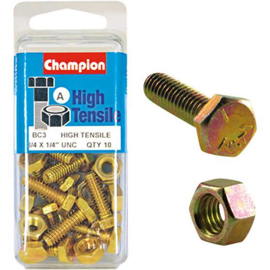 Champion High Tensile Bolts and Nuts - UNC 3 / 4inch X 1 / 4inch, , scanz_hi-res