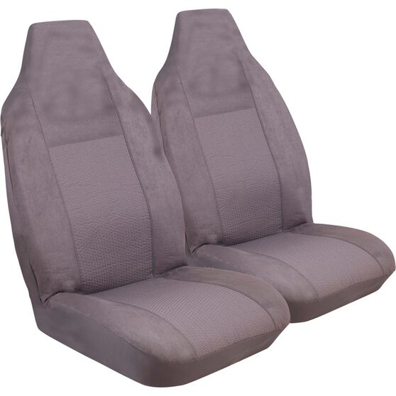 Imperial Seat Covers - Charcoal, Front Pair, Built-In Headrests, Size 60, , scanz_hi-res
