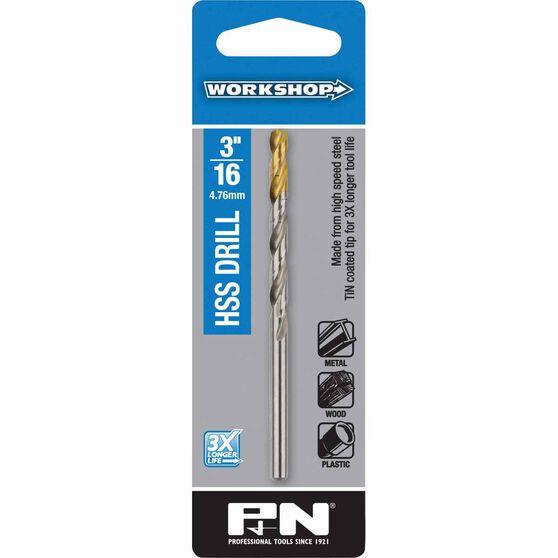 P&N Workshop Drill Bit HSS Tin Tipped 3/16 Inch, , scanz_hi-res