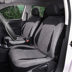 SCA PU Leather Look & Flax Seat Covers - Black/Grey, Adjustable Headrests, Size 30, Airbag Compatible, , scanz_hi-res