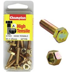 Champion High Tensile Bolts and Nuts - M6 X 25, , scanz_hi-res