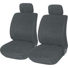 Suede Velour Seat Covers - Grey, Adjustable Headrests, Size 30, Front Pair, Airbag Compatible, , scanz_hi-res