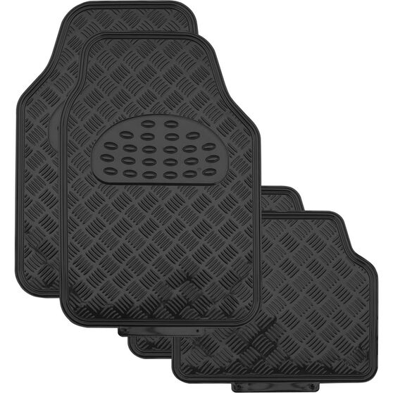 SCA Checkerplate Car Floor Mats - PVC, Black, Set of 4, , scanz_hi-res