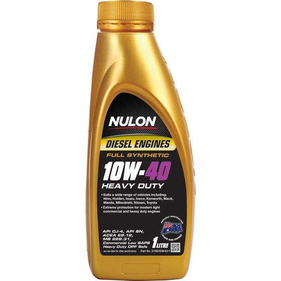 Nulon Full Synthetic Heavy Duty Diesel Engine Oil - 10W-40 1 Litre, , scanz_hi-res