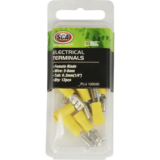 SCA Electrical Terminals - Female Blade, Yellow, 6.3mm, 12 Pack, , scanz_hi-res