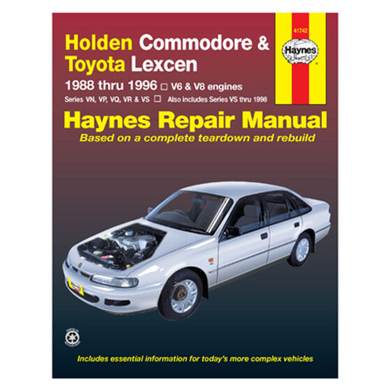 Haynes Car Manual For Holden Commodore / Toyota Lexcen 1988-1996 - 41742, , scanz_hi-res