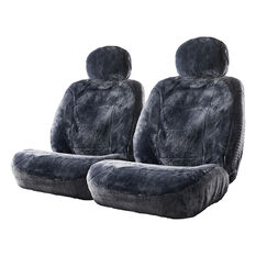 Silver Cloud Sheepskin Seat Covers - Slate Adjustable Headrests Size 30 Front Pair Airbag Compatible Slate, Slate, scanz_hi-res